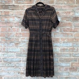 Vintage Brown/Black Full Skirt Shirt Dress Belted